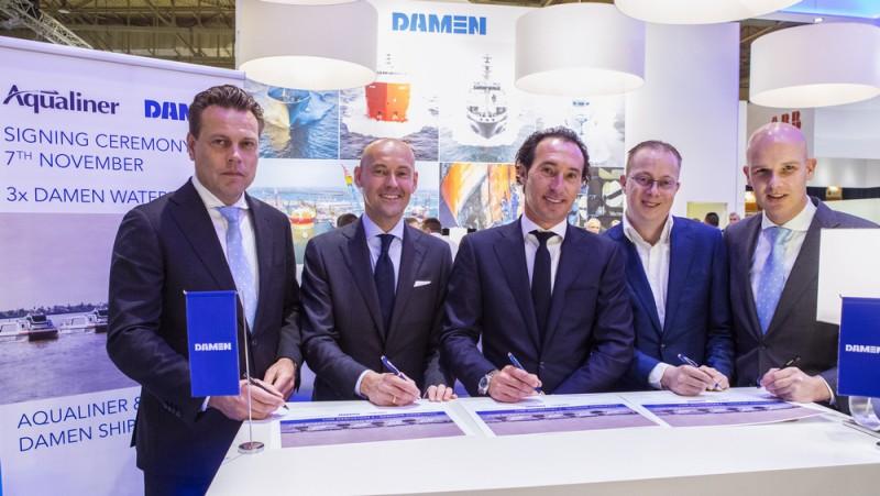 Contractondertekening bij Damen voor drie Antwerpse ferries. (Foto Damen)
