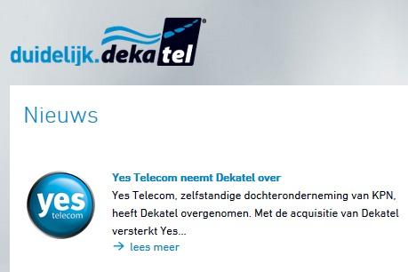 Dekatel overgenomen door Yes Telecom (KPN)