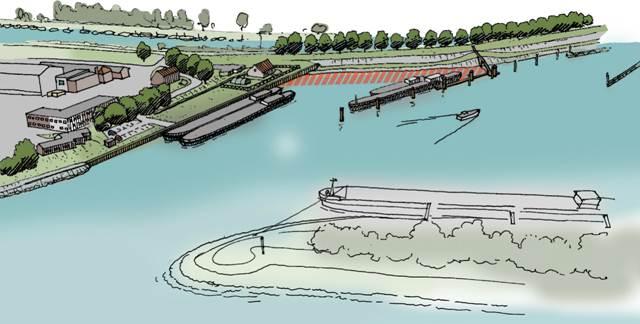 Zo gaat de overnachtingshaven in Gorinchem eruit zien. (Illustratie RWS)