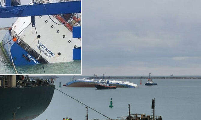 De gekapseisde Queen Hind buiten de haven van Midia bij Constanta. (Beeld: Maritime Bulletin)