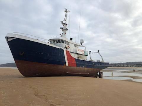Jo of Ladram op zandbank voor de Normandische kust. (Foto Prefecture Maritime)