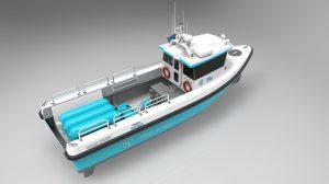 Model van het waterstofschip dat Damen Shipyards voor een pool van potentiële gebruikers  gaat ontwikkelen. (Beeld: Engie)