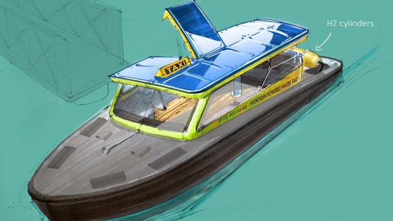 Schets van de nieuwe op waterstof varende watertaxi die volgend jaar in de vaart wordt gebracht. (Illustratie Watertaxi Rotterdam)