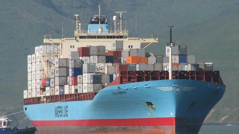 Op de Lexa Maersk is een deel van de bemanning met corona besmet. (Foto Marine Traffic)