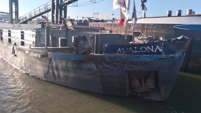 Schade aan de Belgische Avalona (Twitterfoto verkeersleider Siem)