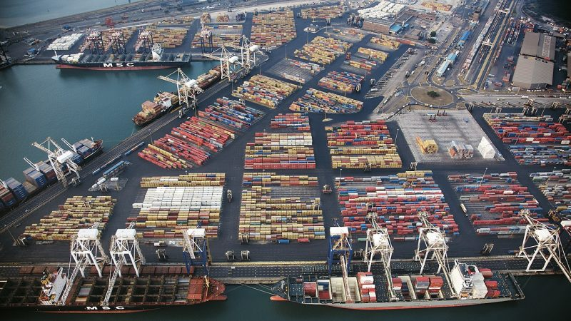 De containerhaven van Durban (foto Wikipedia)