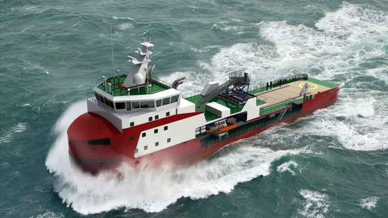 De concept-tekening voor het nieuwe type 'walk to work'-schip (foto Koninklijke Wagenborg)