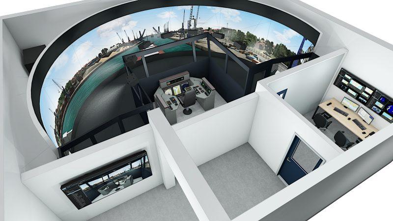 Een van de binnenvaartsimulatoren in Duisburg die een grootschalige update ondergaan. (Foto Wärtsilä Voyage)