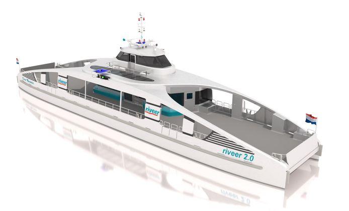 Artist impression van het ontwerp van Coco Yachts voor de nieuwe elektrische passagiers- en fiets veerboot voor Riveer. (Beeld Gemeente Gorinchem)