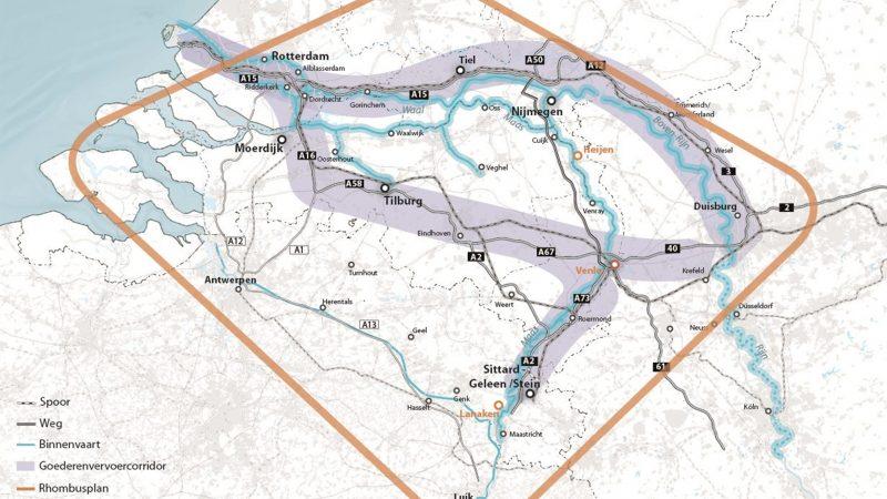 Met behulp van de CE-financiering wordt de zogeheten Rhombus-ruit werkelijkheid. (Illustratie provincie Limburg)