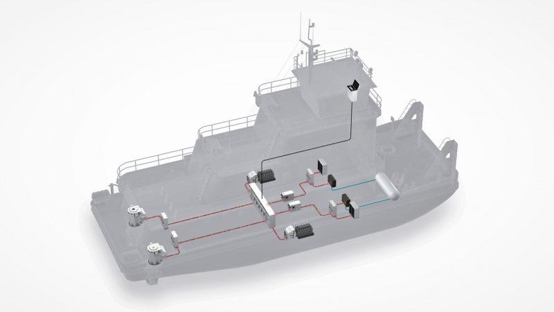 Artist's impressions van de waterstofduwboot voor CFT. (IIlustratie Flagships)