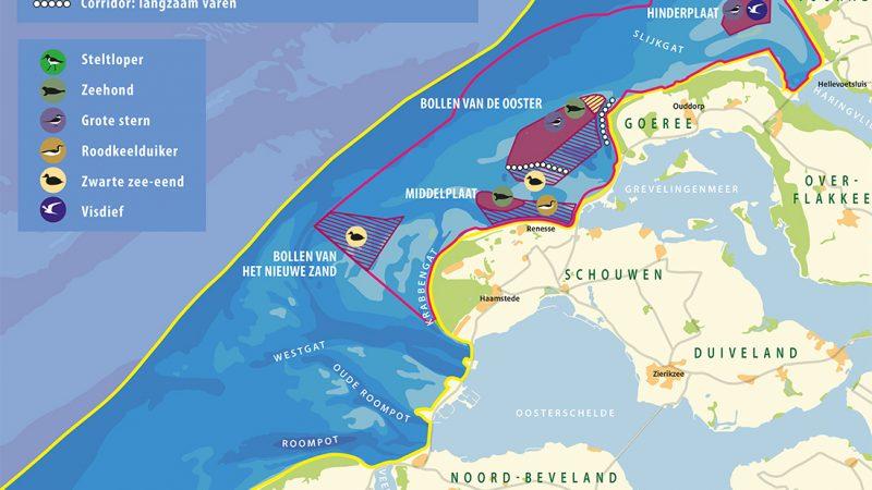 Een kaart van de Voordelta. (Beeld Rijkswaterstaat)