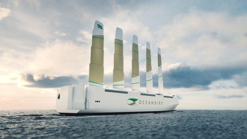 De Oceanbird, een 200 meter lang zeilend RoRo-schip voor het vervoer van auto's. (Illustratie Wallenius Marine)