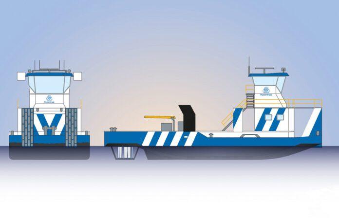 Het ontwerp van de duwboten die Barkmeijer Stroobos voor ThyssenKrupp gaat bouwen. (Tekening ThyssenKrupp)