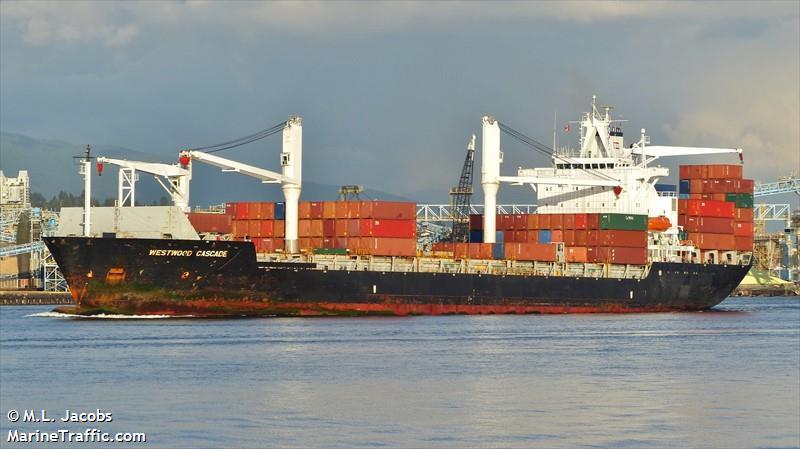 Het containerschip Thorswind. (Foto MarineTraffic)