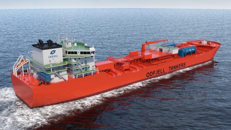 De 1,2 megawatt Flexi Fuel brandstofcel zal worden getest op een nieuwe op LNG varende tanker van Odfjell. Deze eerste brandstofcel levert alleen het hulpvermogen. Einddoel is echter de productie van een 10 MW Flexi Fuel Cell voor het volledige vermogen dat het schip nodig heeft. (Artist's impression Odfjell)