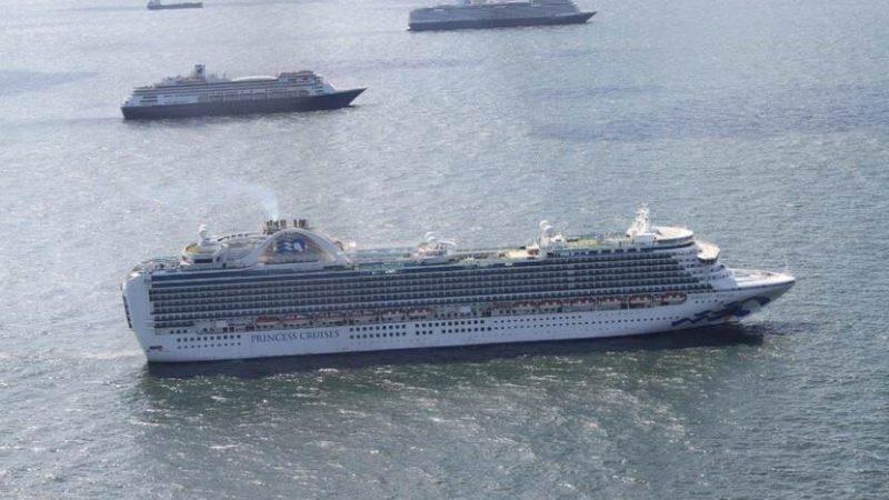 Een schip van Princess Cruises in het ankervak bij Scheveningen. (Foto ILT)