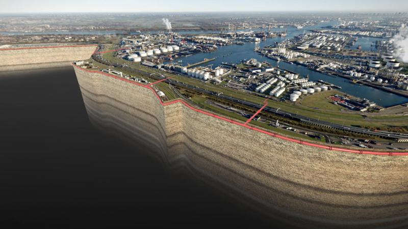 Porthos gaat vijftien jaar lang zo'n 2,5 Mton CO2 van de Rotterdamse bedrijven Air Liquide, Air Products, ExxonMobil en Shell per jaar opslaan onder de bodem van de Noordzee. (Foto Porthos)