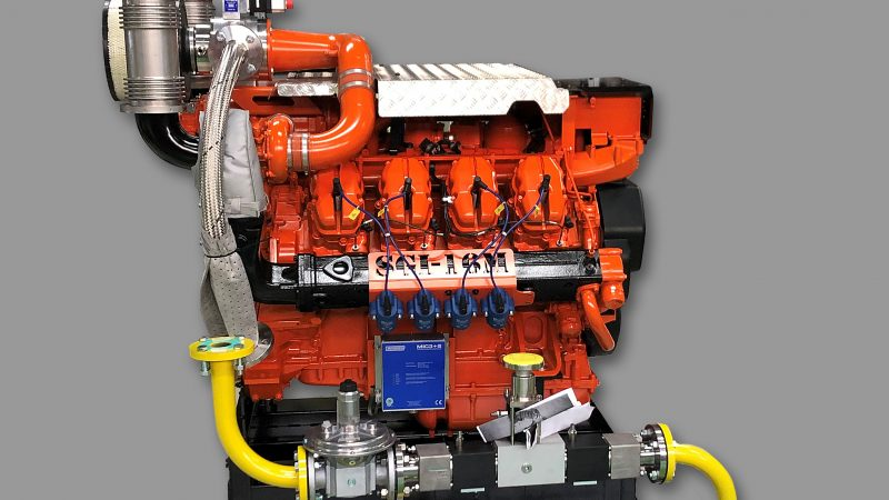 De nieuwste Scania SGI-16M gasmotor. (Foto Sandfirden Technics)