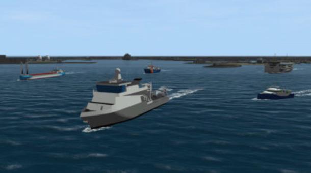 De Koninklijke Marine en Rijkswaterstaat zijn bereid 'launching customer' te worden voor emissieloze schepen. (Artist's impression NML)