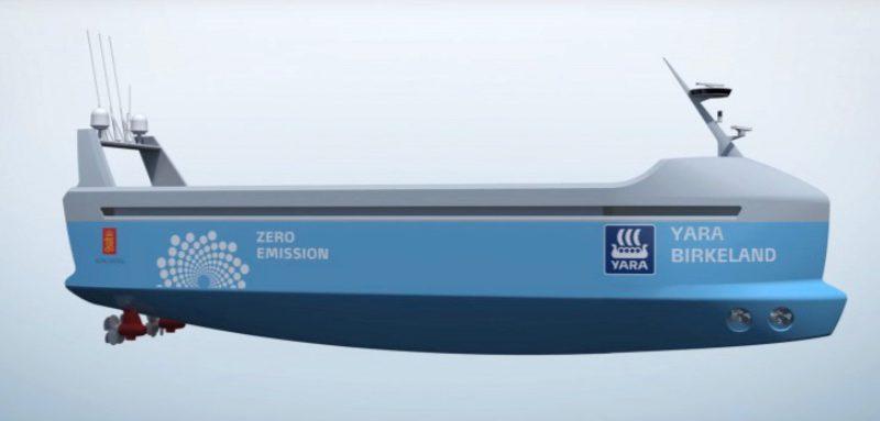 Artist's impression van het elektrisch aangedreven robotschip Yara Birkeland. (Afbeelding Kongsberg)