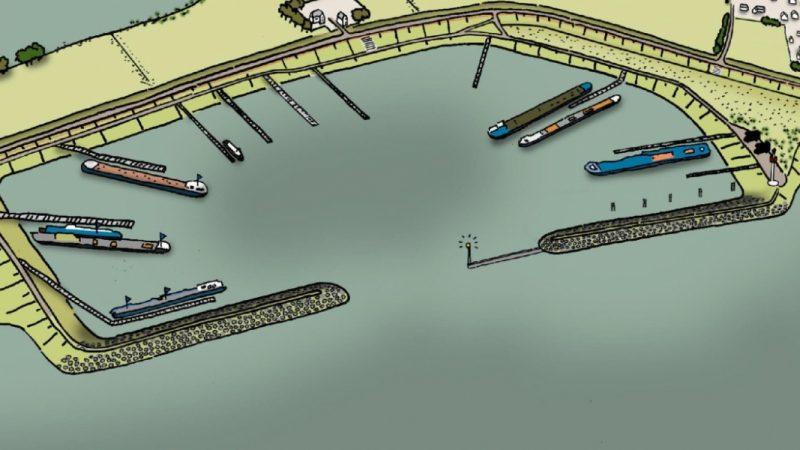 Zo komt de nieuwe overnachtingshaven in Spijk eruit te zien. (Foto Rijkswaterstaat)