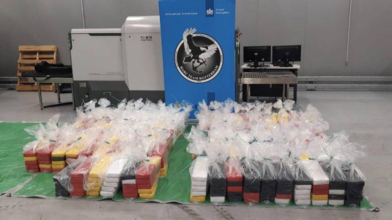 De douane heeft tijdens meerdere controles 1064 kilo cocaïne onderschept in de haven van Rotterdam