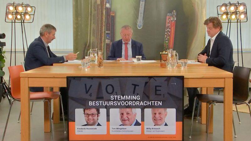 Erik Schultz aan de bestuurstafel met links Henri Mooren en rechts Sjaak Oudakker. (Beeld uit video BLN-ledenvergadering)