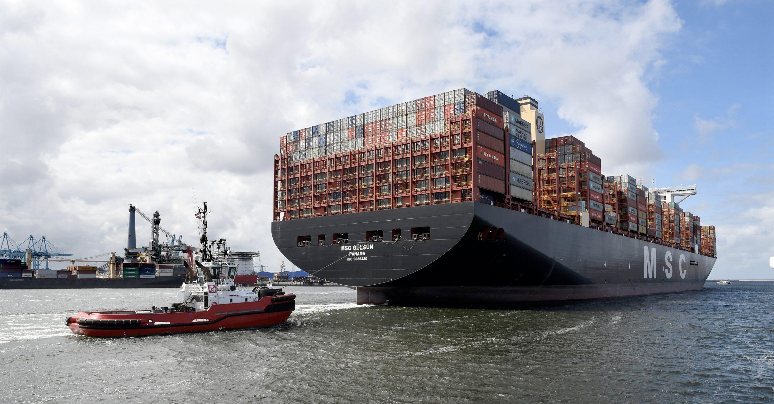 Het MSC Gülsün arriveerde in september 2019 voor het eerst in Rotterdam. op dat moment was ze nog het grootste containerschip ter wereld. (Foto Port of Rotterdam/Ries van Wendel de Joode)