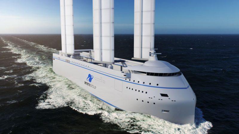 De 121 meter lange 'Canopée' wordt uitgerust met vier dertig meter hoge Oceanwings. (Illustratie Alizés)