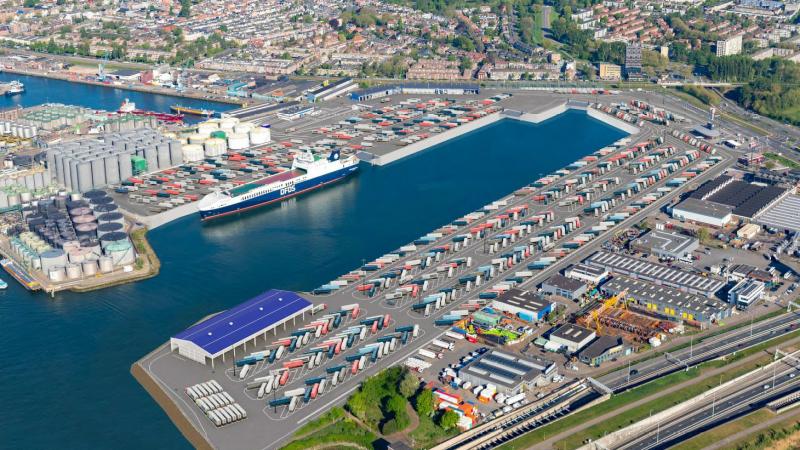 De ferry terminal van DFDS in Vlaardingen. (Foto DFDS)