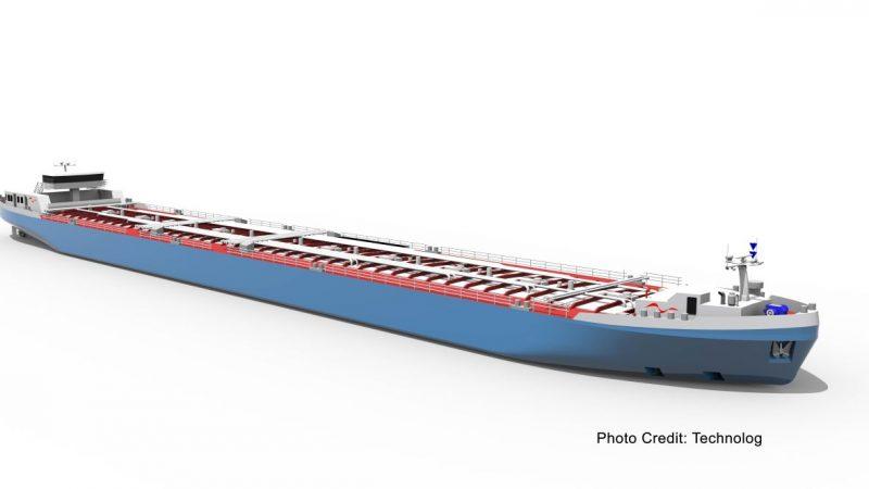 Het ontwerp van de nieuwe tanker is speciaal bedoeld voor laagwater. (Beeld Technolog)