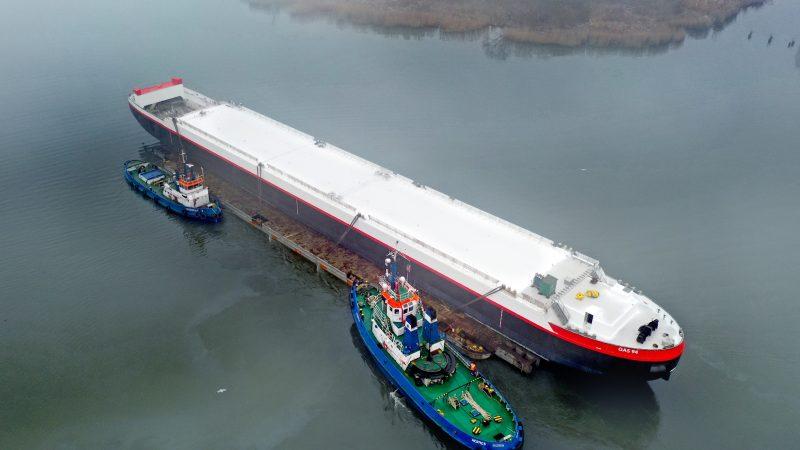 De Gas 94 is speciaal ontworpen om te blijven varen bij laagwater op de Rijn. (Foto HGK Shipping)