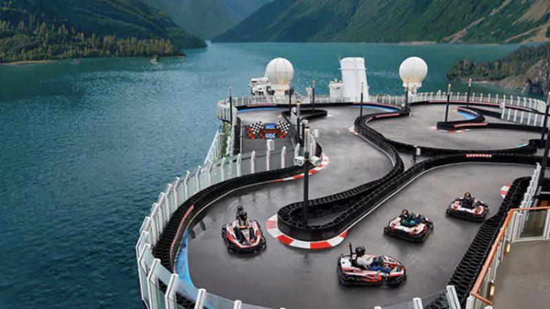 Kartbaan op Norwegian cruiseschio