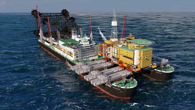 De Pioneering Spirit, het grootste werkschip ter wereld, gaat twee gasplatformen uit de Ierse zee verwijderen. (Foto Allseas)