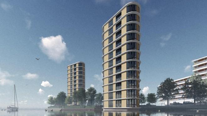 De woontorens die Rochdale wil bouwen langs de Voorzaan op het Zaaneiland. (Illustratie Rochdale)