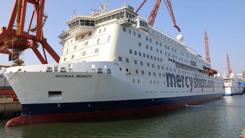De Global Mercy bijna klaar voor vertrek naar Europa.
