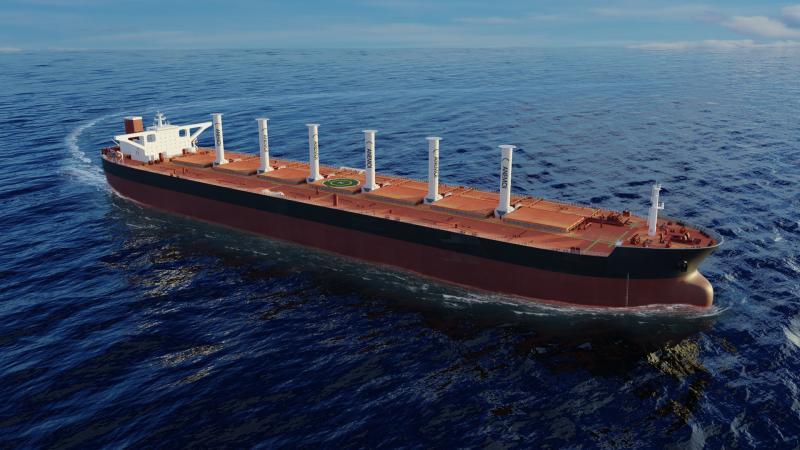Het schip krijgt zes neerklapbare rotorsails volgens het Flettner-principe. (3D-illustratie Anemoi)