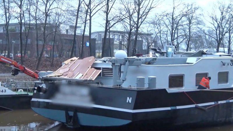 Tanker verliest stuurhut bij Lingen (Screenshot NDR)