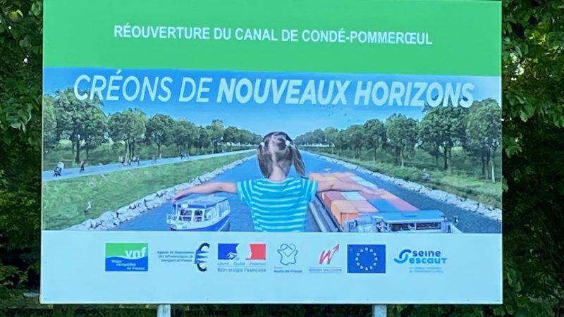 Aankondiging van de werkzaamheden om het verzande kanaal Pommeroeul-Condé weer bevaarbaar te maken (Foto Bart Oosterveld)