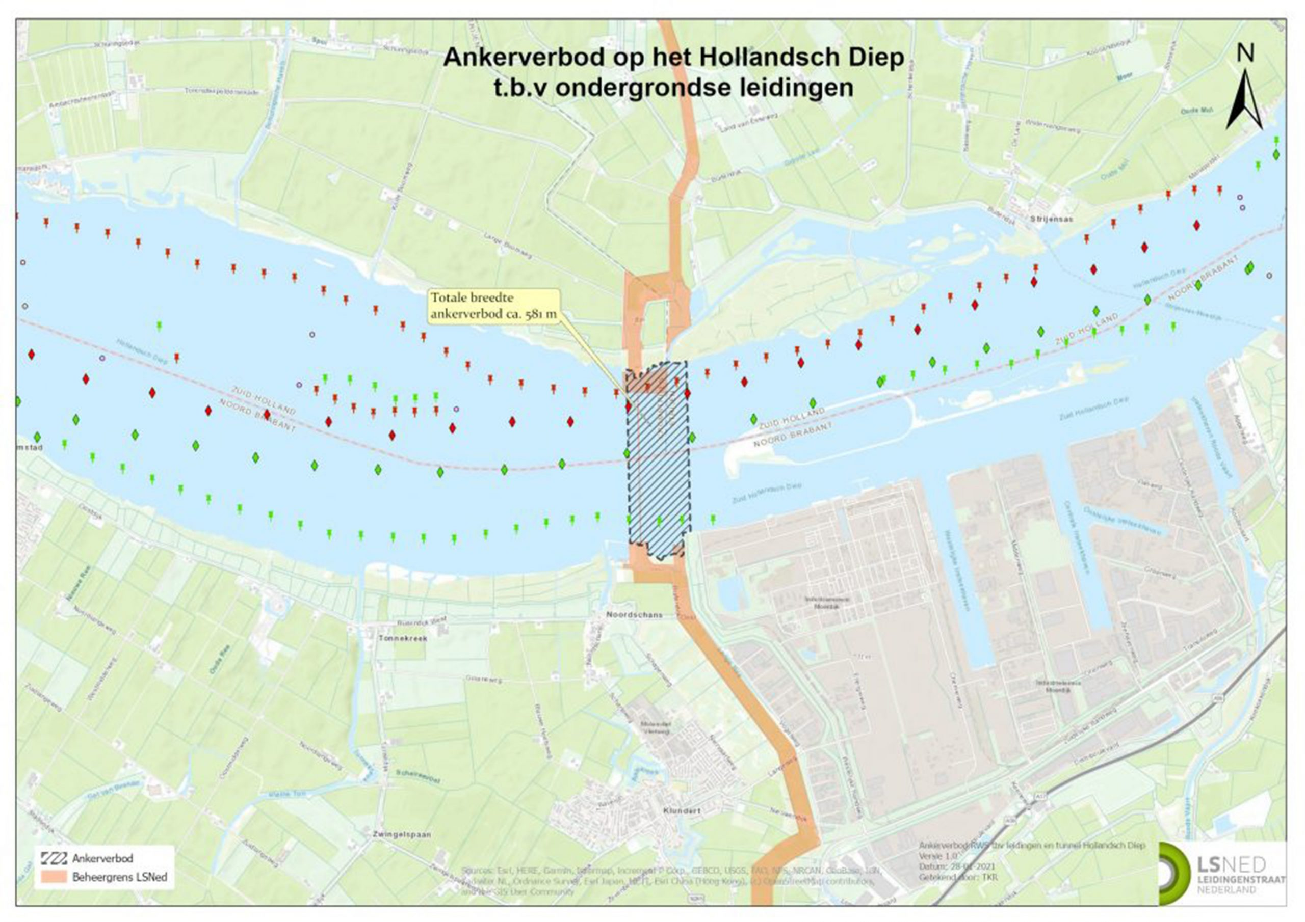 In totaal geldt het anker- en spudpaalverbod op het Hollandsch Diep over een breedte van 581 meter. (Tekening Leidingenstraat Nederland)