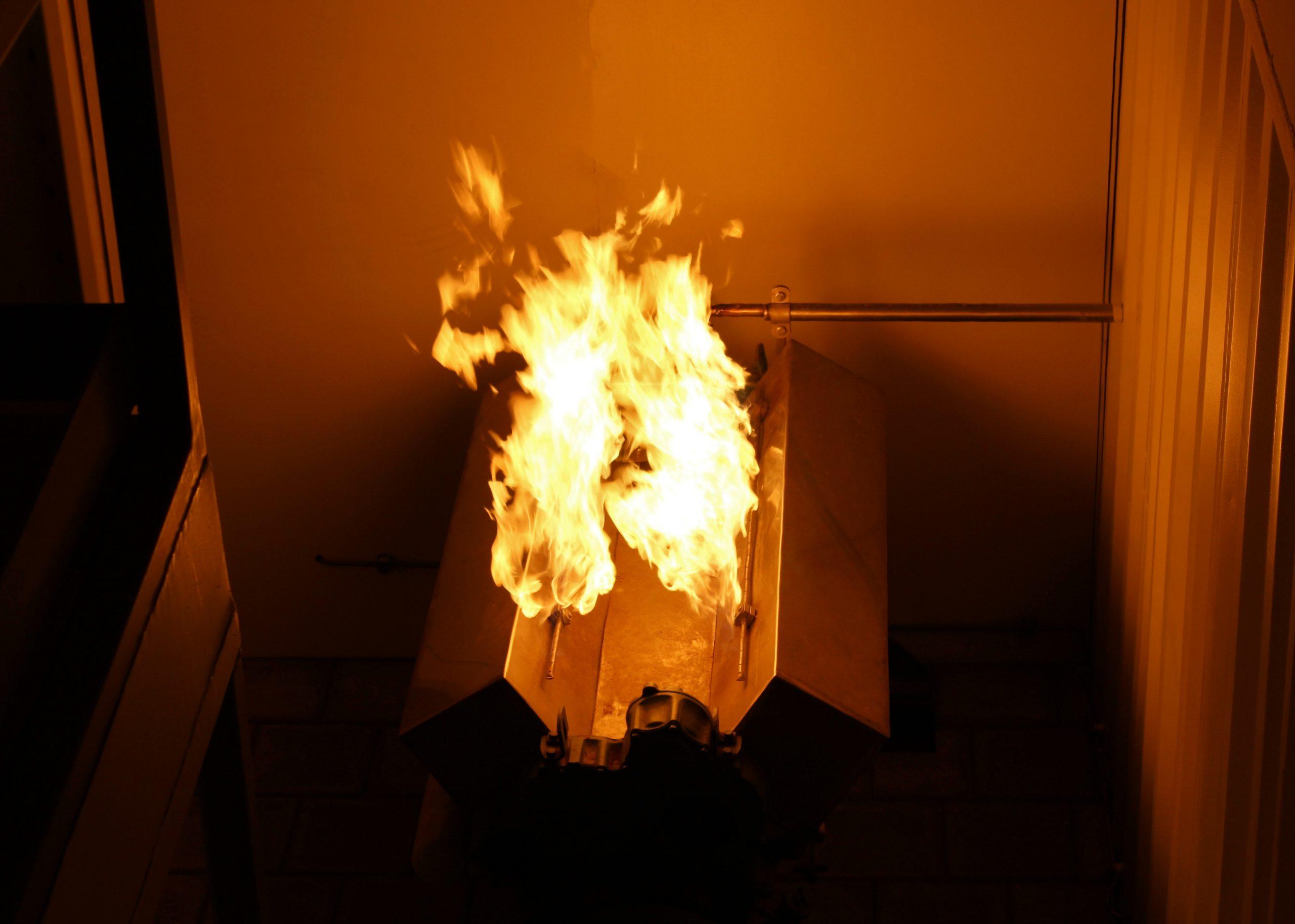 Testlocatie voor het simuleren van machinekamerbranden. (Foto Hans Heynen)