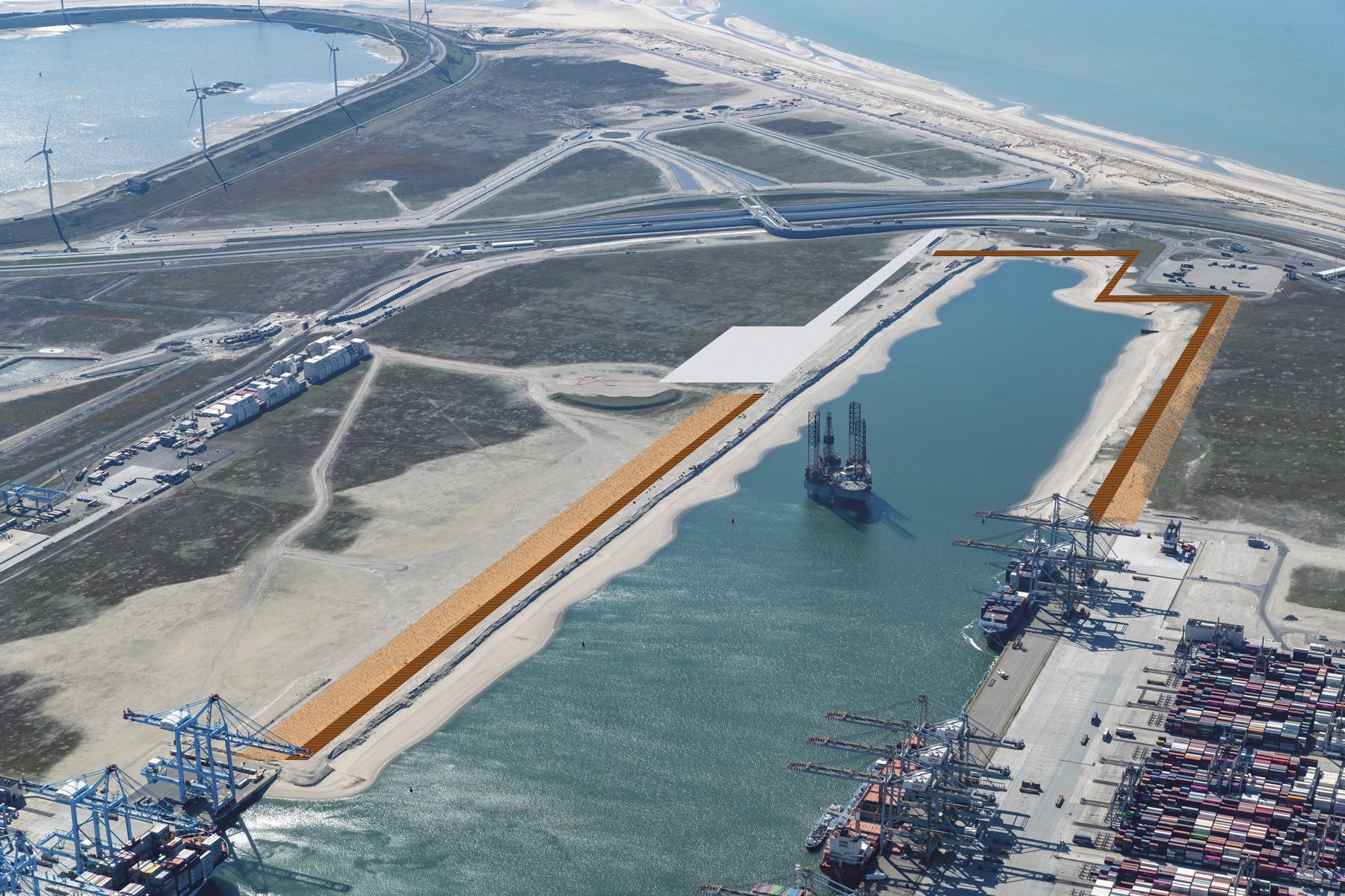 Er wordt 2,4 kilometer aan kades aangelegd in de Prinses Amaliahaven. (Foto Havenbedrijf Rotterdam)