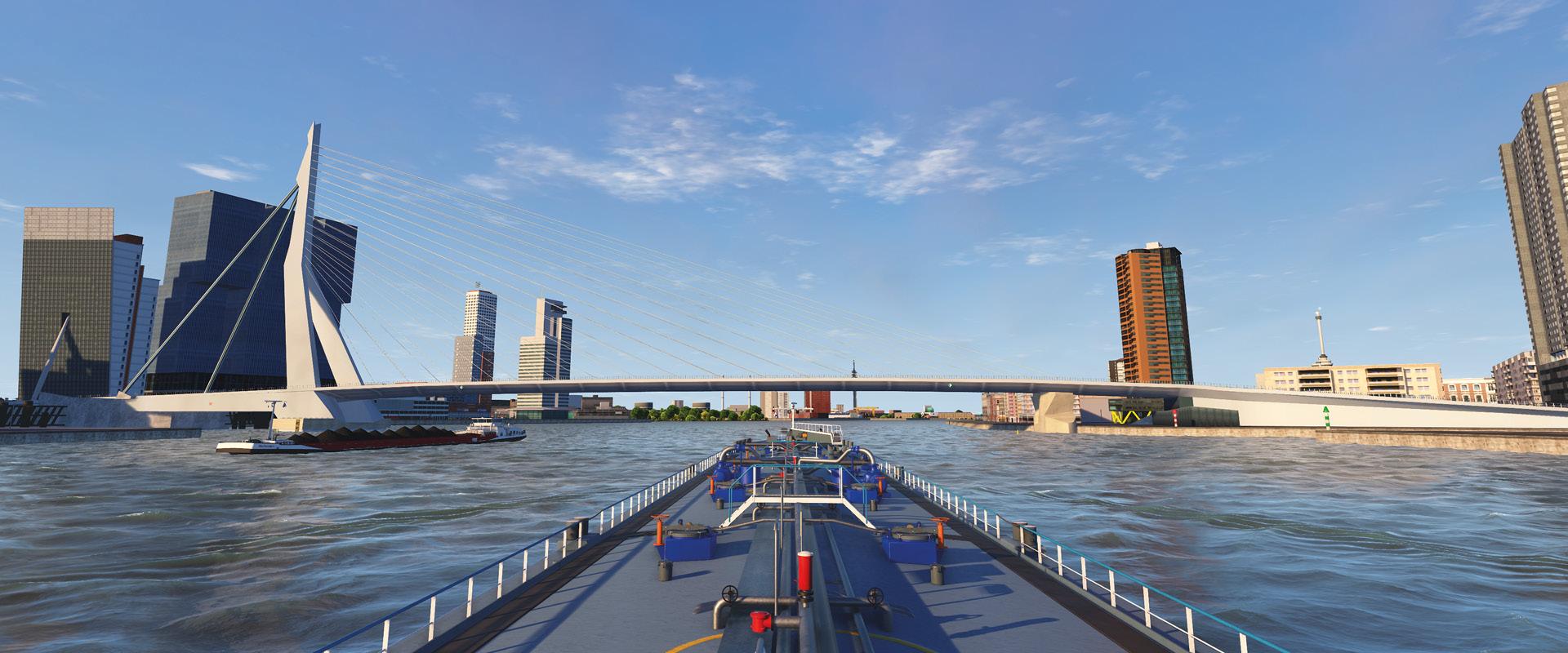 Met een virtueel zonnetje op het bolletje met een tanker afvarig door Rotterdam. Beeld:VSTEP
