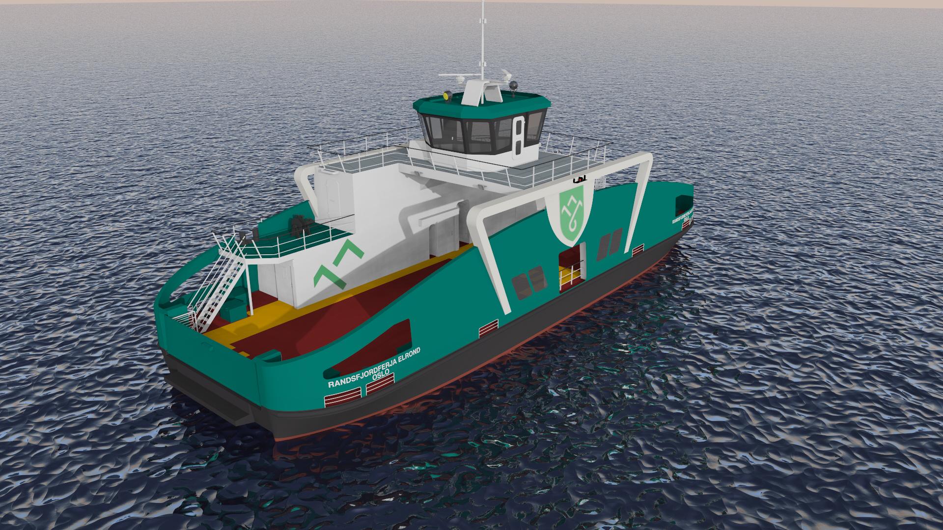 Vanaf mei/juni gaat de Holland Shipyards Group in Noorwegen het bouwpakket van de elektrisch aangedreven Randsfjordferja Elrond in elkaar zetten en aflassen. De onderdelen worden op dit moment op de Werkendamse werf van HSG gebouwd. (Rendering HSG)