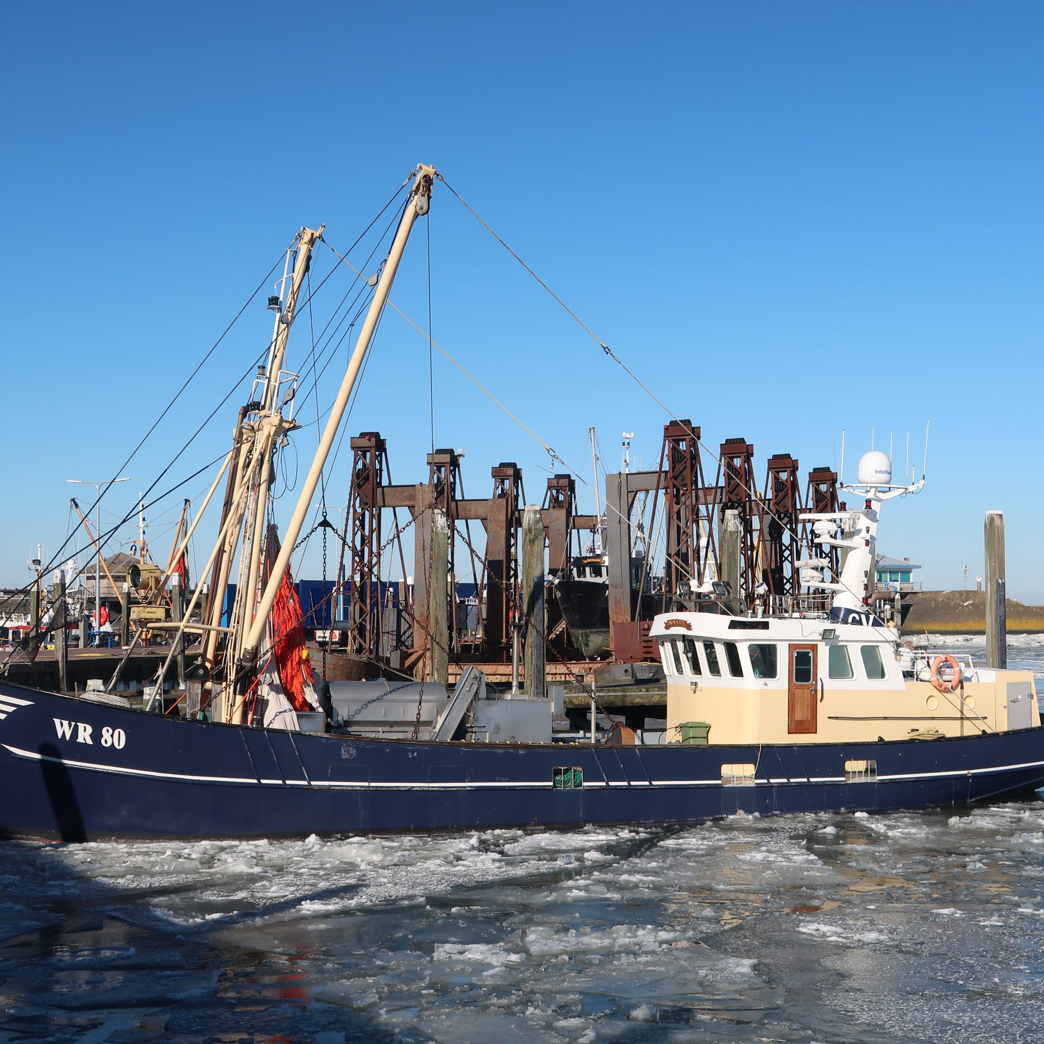Op de foto ligt de WR-80 als enige aan de loskade van de visafslag van Den Oever. (foto W.M. den Heijer)