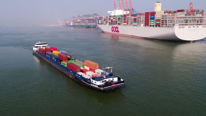 De goederenoverslag in zeehaven Rotterdam is vorig jaar met 6,9% gedaald van 469,4 tot 436,8 miljoen ton. (Foto Port of Rotterdam)