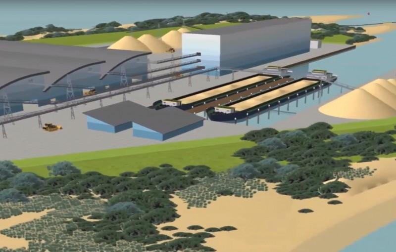 Vanaf een werkeiland in het IJsselmeer zou 30 jaar lang zo'n twee miljoen kuub industriezand kunnen worden verscheept. (Illustratie: Koninklijke Smals)