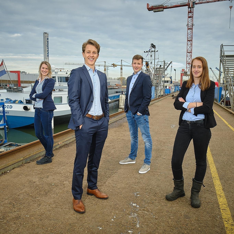 Maxime, Tom, Reinier en Iris zijn de maritieme jongerenambassadeurs bij Maritime by... (Foto Maritime by)