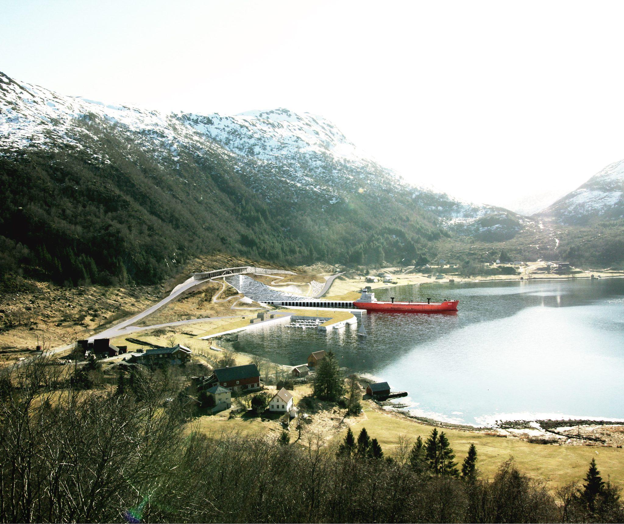 De beoogde Stad Ship Tunnel die het Noorse land doorkruist (Foto: Norwegian Coastal Administration)